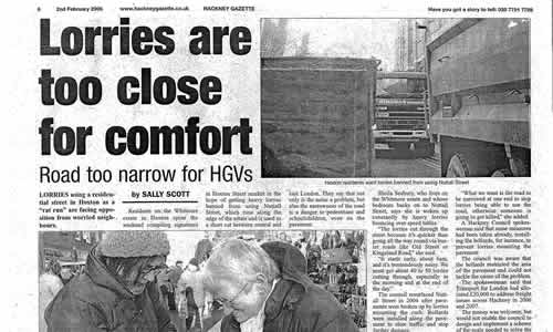 xarchive2006_Newspaper_Whitmore_Hackney Gazette Lorries Are Too Close For Comfort