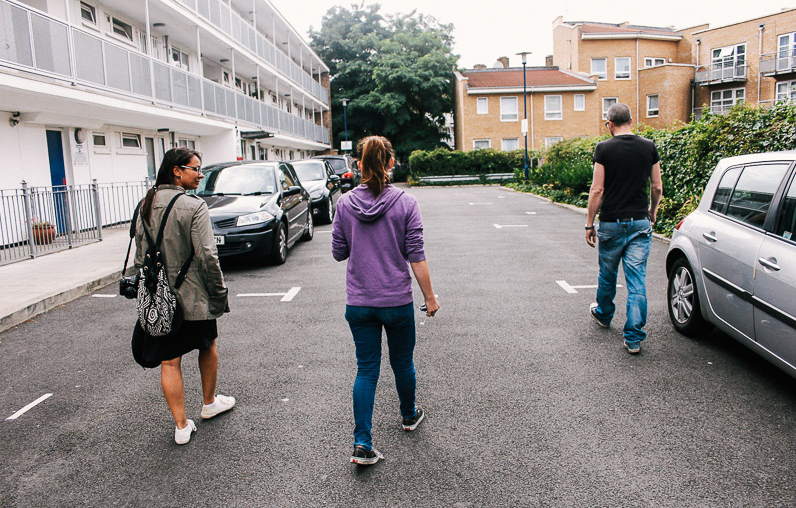 Walking through Whitmore Estate on Canalside during the Humans of Canalside workshop with Youth of Haggerston, June 2014. Image by Sonny McCook.