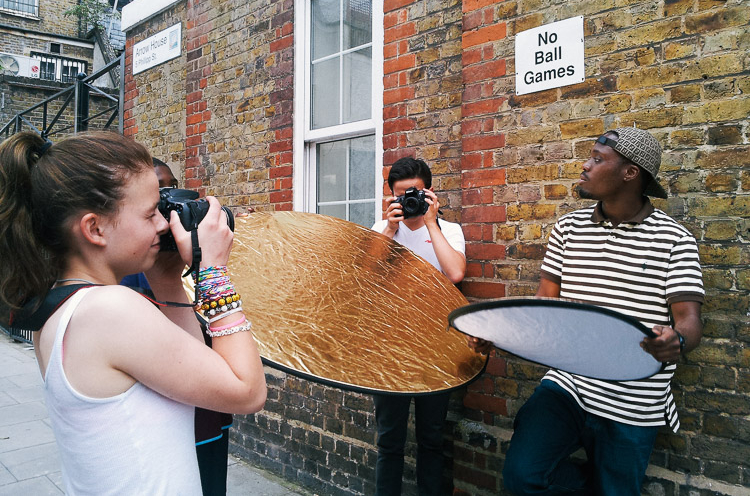 Humans of Canalside workshop with Youth of Haggerston and photographer Marcia Chandra, June 2014. Image ©Marcia Chandra.